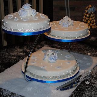 Winter Wonderland Royal Blue Wedding Cake