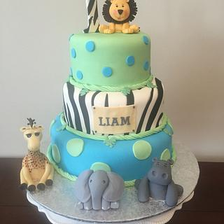 1st Birthday Safari Cake & Matching Cupcakes