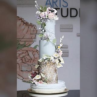 garden wedding workshop on fondant and gumpaste flowers - Cake by Jackie Florendo