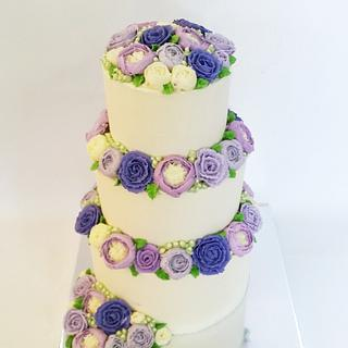 Buttercream Flowers -- 50th Anniversary Cake