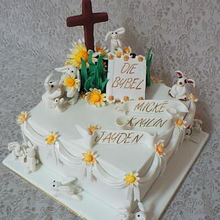 Christening cake for three children - Cake by Maggie
