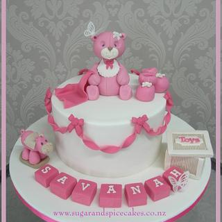 Teddy Toys Christening Cake