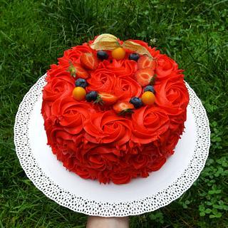 Red rosette cake