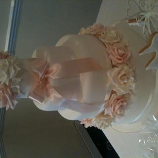 3 Tier Rose & Hydrangea Wedding Cake