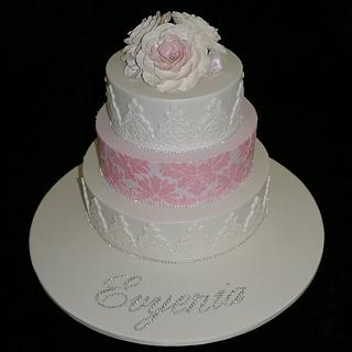 3 Tier old fashioned Christening cake.