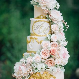 Blush and Gold Sugar Flower Wedding Cake