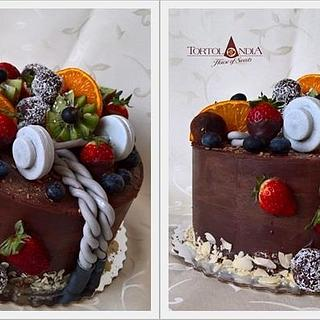 Chocolate and fresh fruits for sport trainer