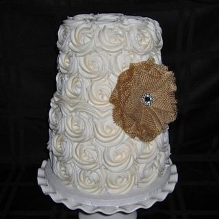 Burlap Rose Cake