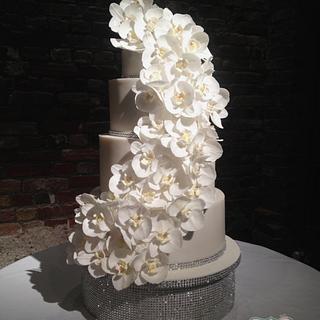 Cascading Orchids Wedding Cake