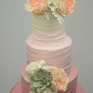 Blush Textured Buttercream Wedding Cake