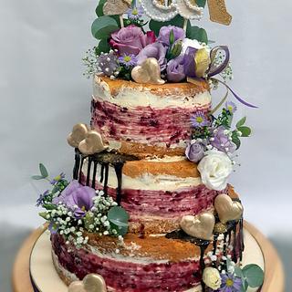 Wedding naked drip cake