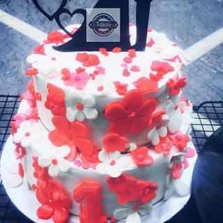 anniversary cake semi fondant for one year anniversary