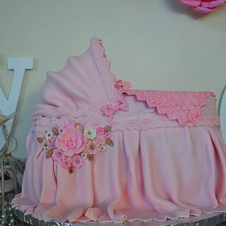 Baby Bassinet Cake for a Girl