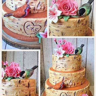 Birch effect wedding cake