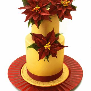 Red and gold poinsetias cake - Cake by Artym