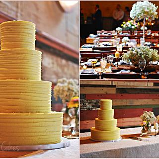 Yellow Buttercream Textured Wedding Cake