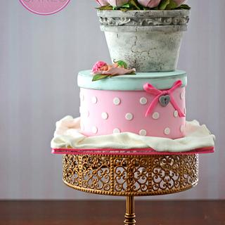 Antique Vase of Pink Roses & Hatbox Cake