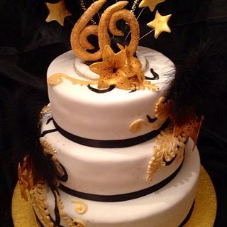 Gold and black 60th Birthday Cake