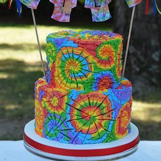 Tie Dye Birthday Party Cake