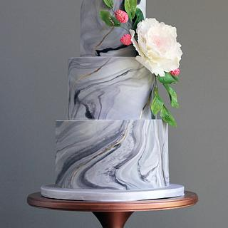 Gray Marble Wedding Cake