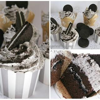 Chocolate Oreo cup cakes with Swiss meringue buttercream