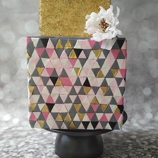 Geometric Art inspired cake