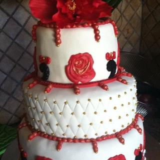 three tiered ruby anniversary cake