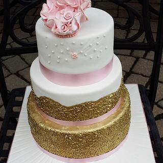 White with Gold Sequins Bridal shower cake