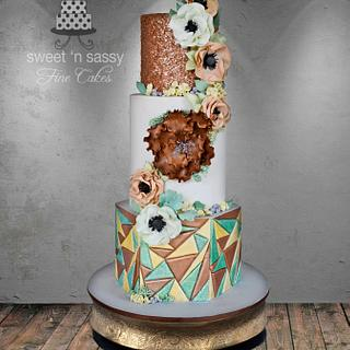 """Old meets new"" Wedding cake"