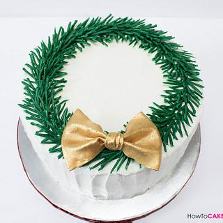 Christmas Wreath Cake with chocolate pine needles
