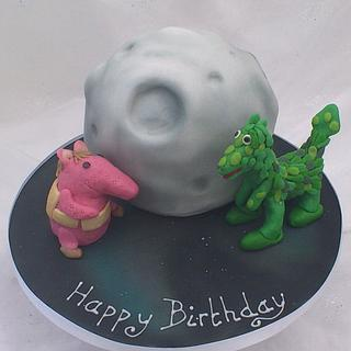 Clanger and Soup Dragon - Cake by Cakes By Heather Jane