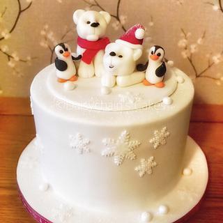 Polar bear and penguins Christmas cake
