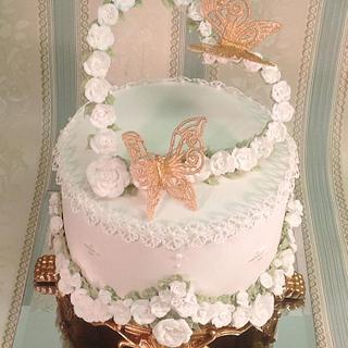 Royal icing heart and roses wedding cake