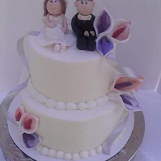 Calla Lily Wedding Cake with Sculpted Bride & Groom