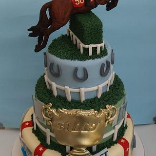 Horse racing 50th birthday cake