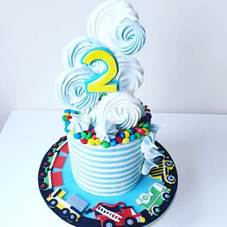 Striped cream cake, car stand