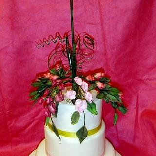 70th Birthday Cake with Sugarcraft Flowers