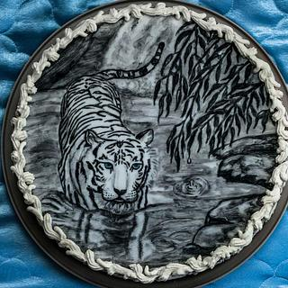 Hand-painted tiger cake