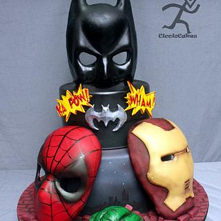 Superheros with edible masks(tutorial link) - Cake by Ciccio