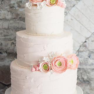 Rustic Blush Wedding Cake