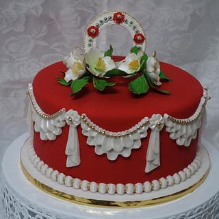 Red holiday cake