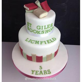 Book cake - 5th anniversary of St Giles Bookshop Lichfield  - Cake by Mummypuddleduck