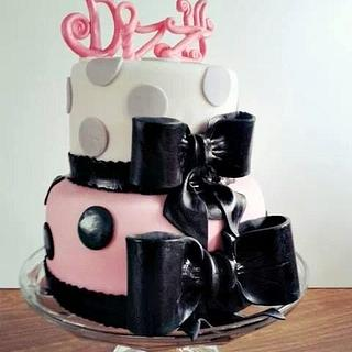 Girly Polka Dot Tiered Cake for Bizzy