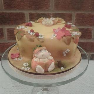 Pumpkin baby floral harvest cake