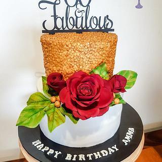 Birthday cake with sugar roses