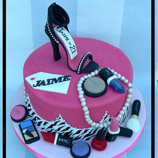 Mac Make up inspired Cake and Cupcakes - Cake by Mel_SugarandSpiceCakes