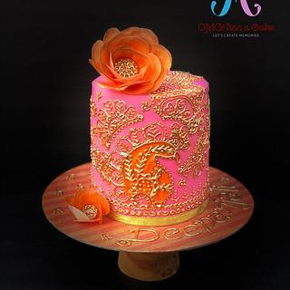Mehendi design cake  - Cake by OMG! itss a cake