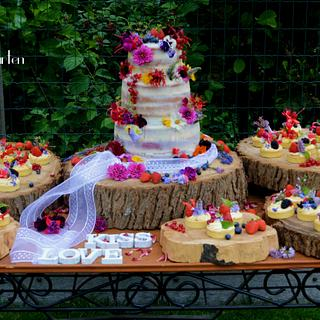 summer weddingcake, semi naked with all edible flowers