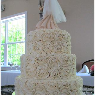 Romantic Rosette Wedding Cake