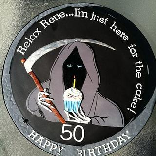 Grim Reaper Over the Hill Birthday Cake